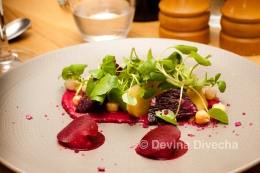 Roasted golden and ruby beetroot, beetroot hummus, chickpea and watercress salad