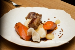 Dingley Dell pork tenderloin and shoulder, creamy mash, honey-glazed carrot, apple sauce