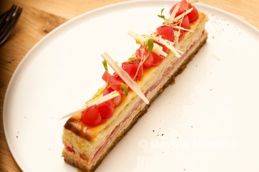 Baked white chocolate and rhubarb cheesecake